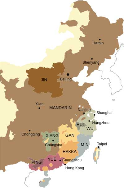 China Map Language Distribution